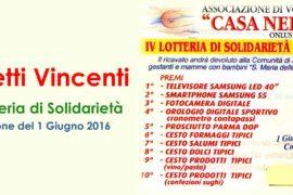 Biglietti Vincenti – IV Lotteria di Solidarietà
