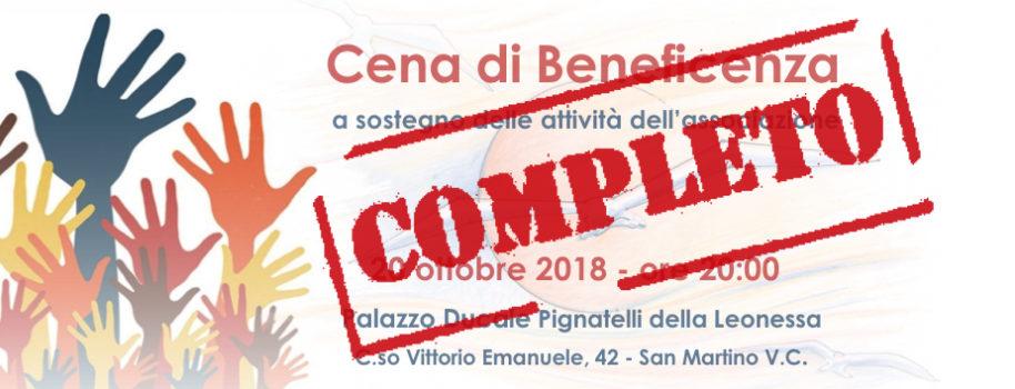 Cena di Beneficenza – 20 ottobre 2018 – Completo